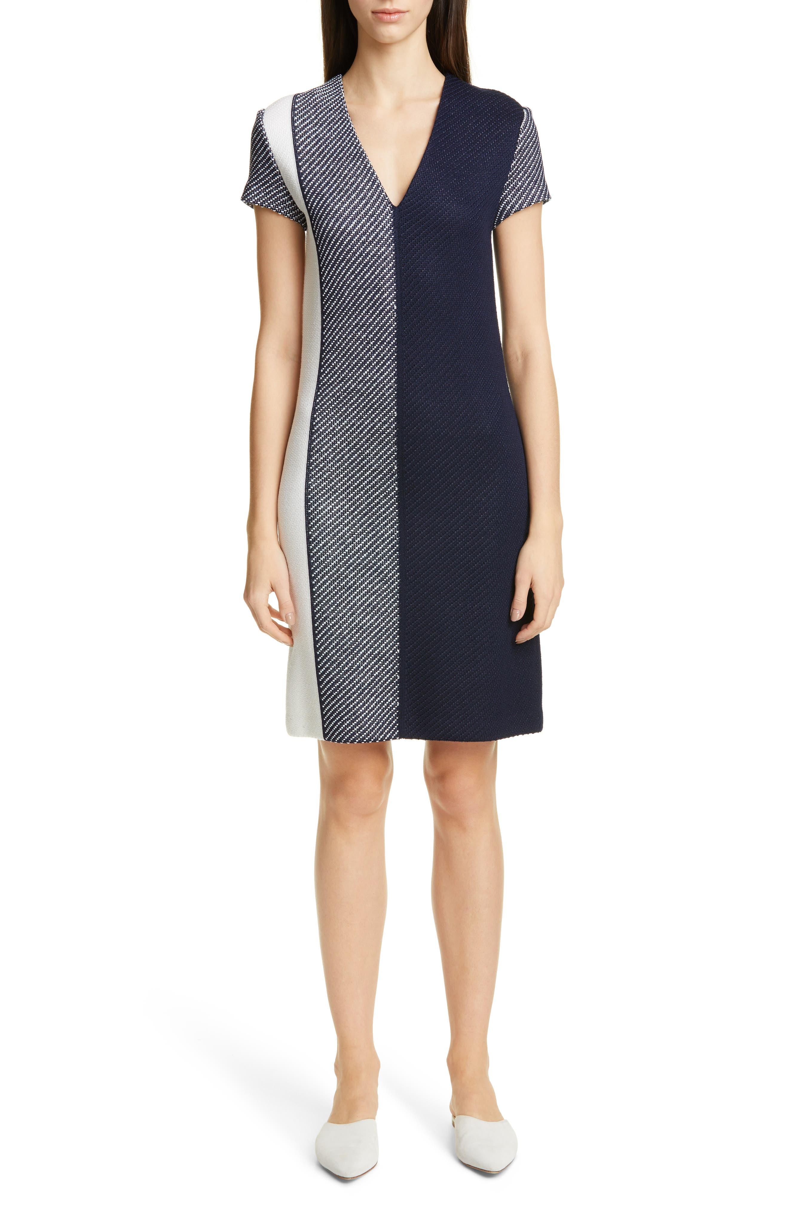 St. John Collection Modern Textured Intarsia Knit Dress, Blue