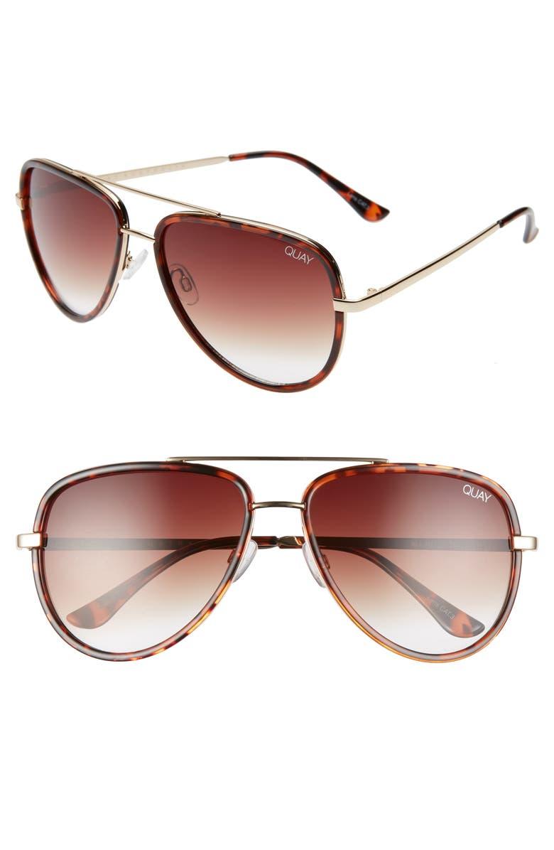 QUAY AUSTRALIA All In 56mm Aviator Sunglasses, Main, color, TORTOISE/ BROWN FADE
