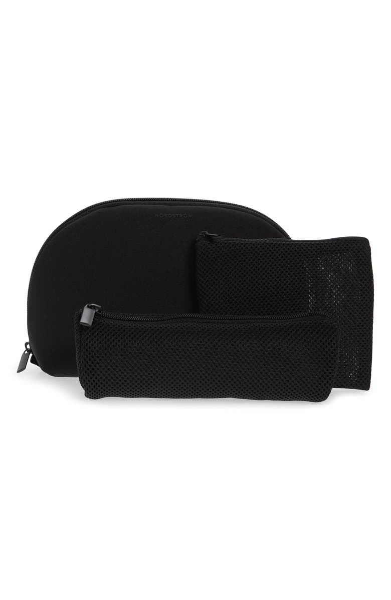 NORDSTROM Curved Neoprene Cosmetics Case, Main, color, BLACK