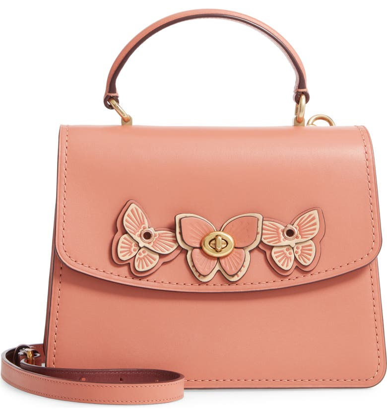 COACH Butterfly Parker Leather Top Handle Bag, Main, color, 950