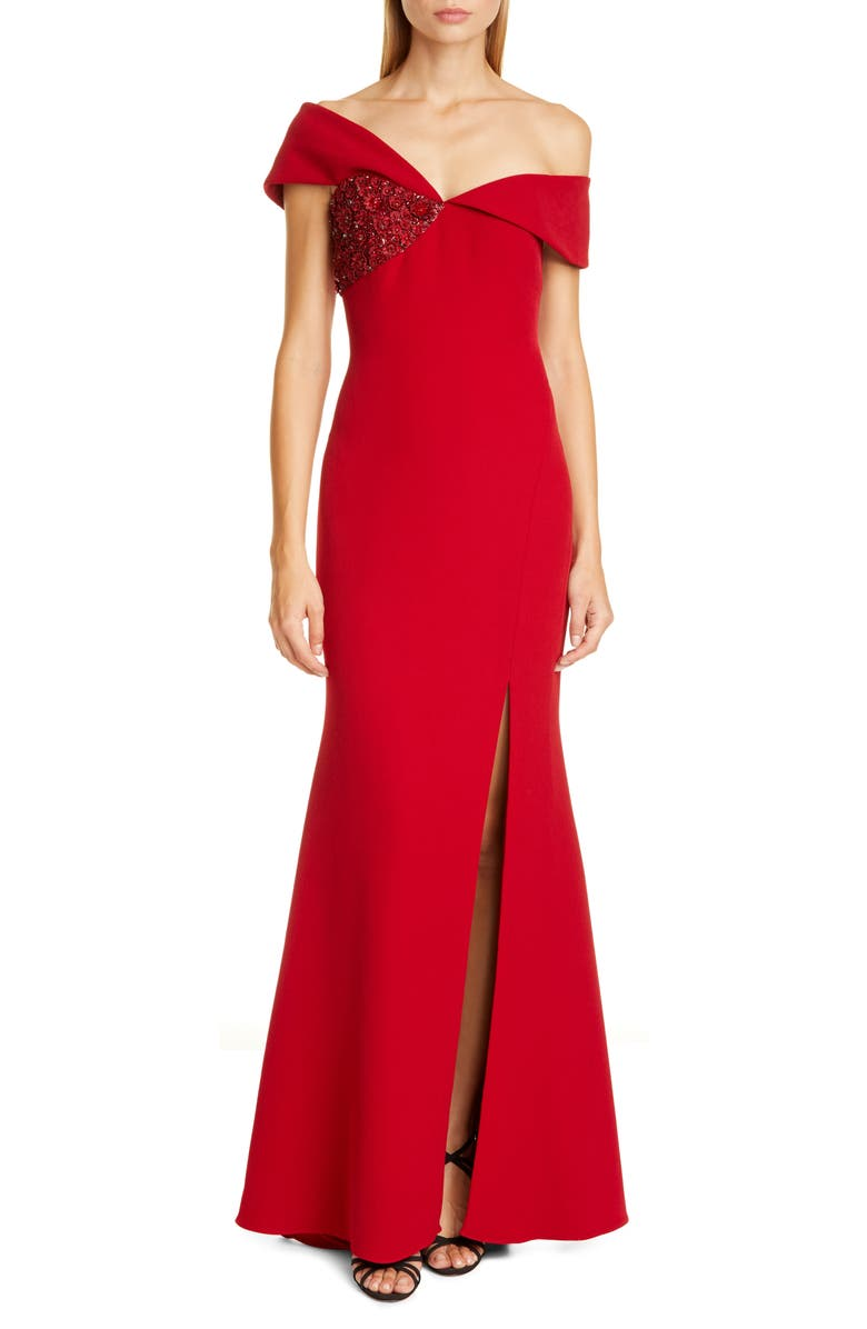 BADGLEY MISCHKA COLLECTION Asymmetrical Off the Shoulder Gown, Main, color, RUBY