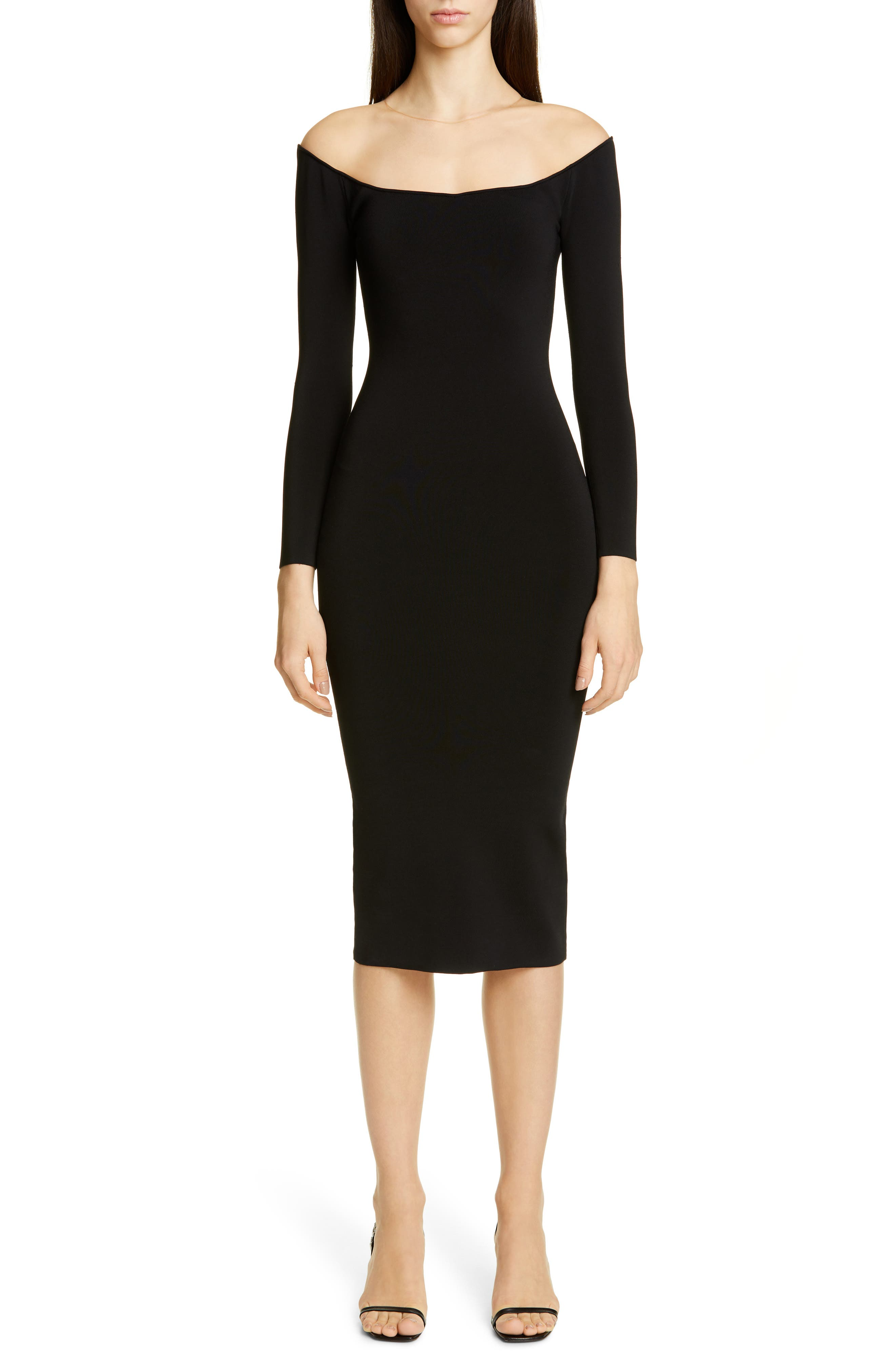 Alexander Wang Long Sleeve Illusion Neck Body-Con Sweater Dress, Black