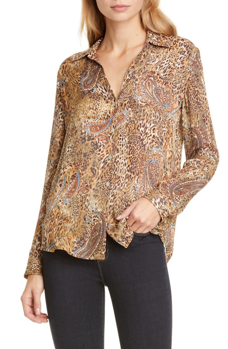 L'AGENCE LAGENCE Nina Leopard & Paisley Print Silk Blouse, Main, color, 200