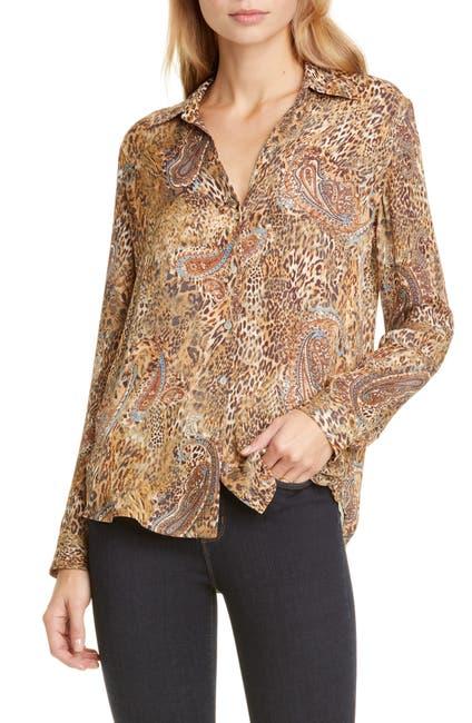 Image of L'AGENCE Nina Long Sleeve Leopard Print Silk Blouse