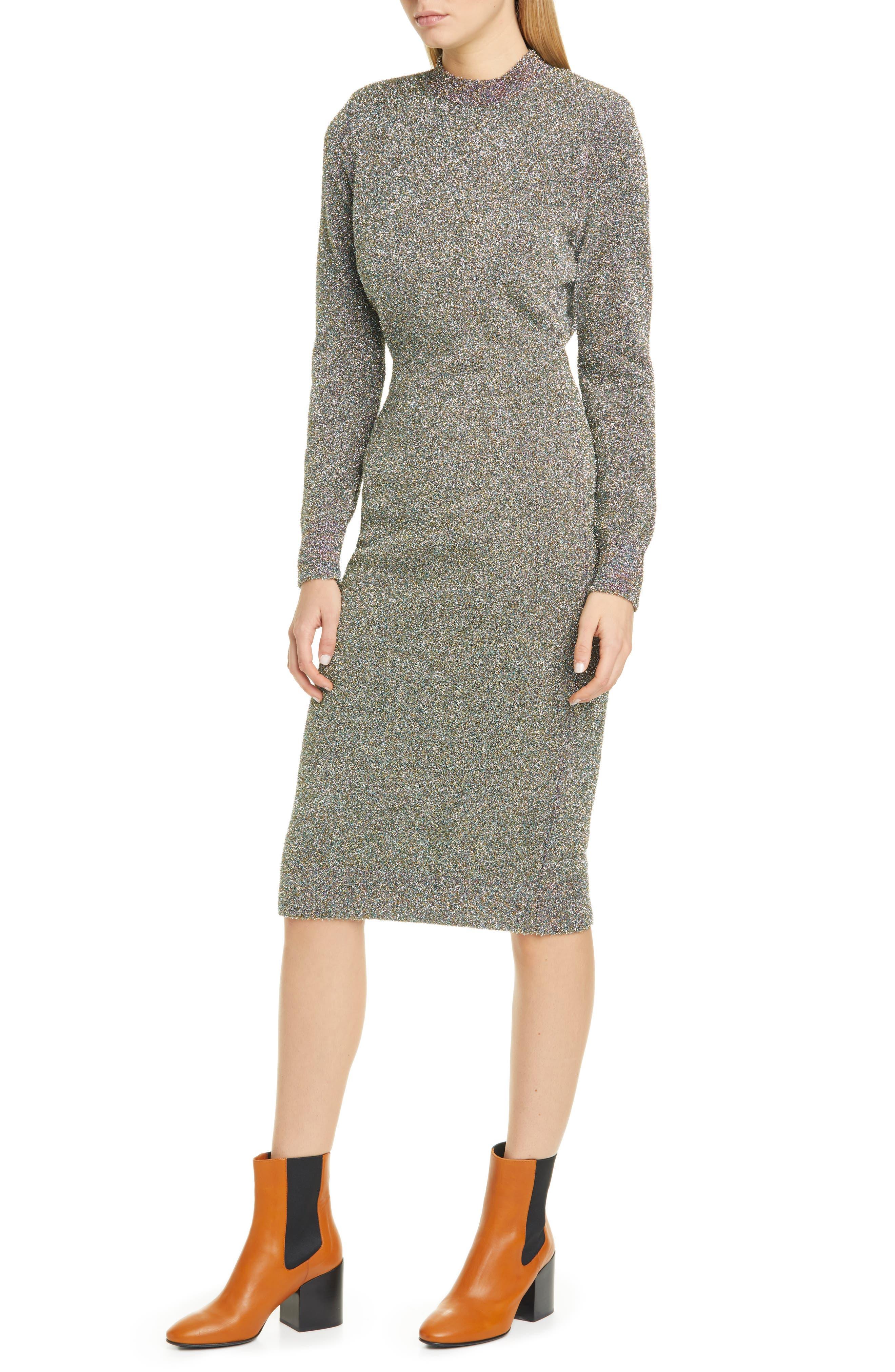 Dries Van Noten Dress Metallic Long Sleeve Dress