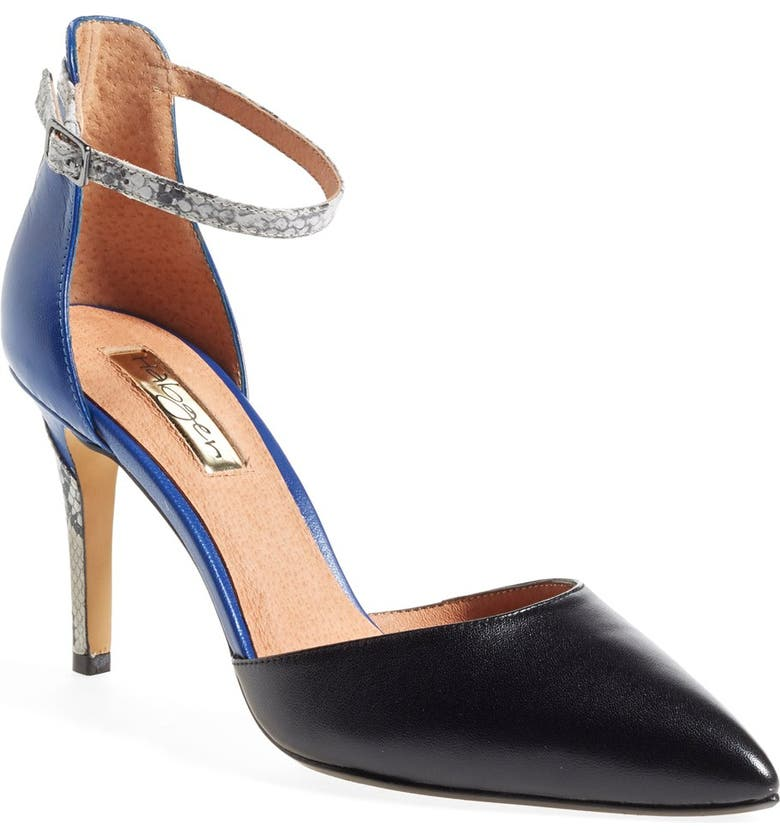 HALOGEN<SUP>®</SUP> Halogen 'Tia' Snake Embossed Leather Ankle Strap Sandal, Main, color, 007