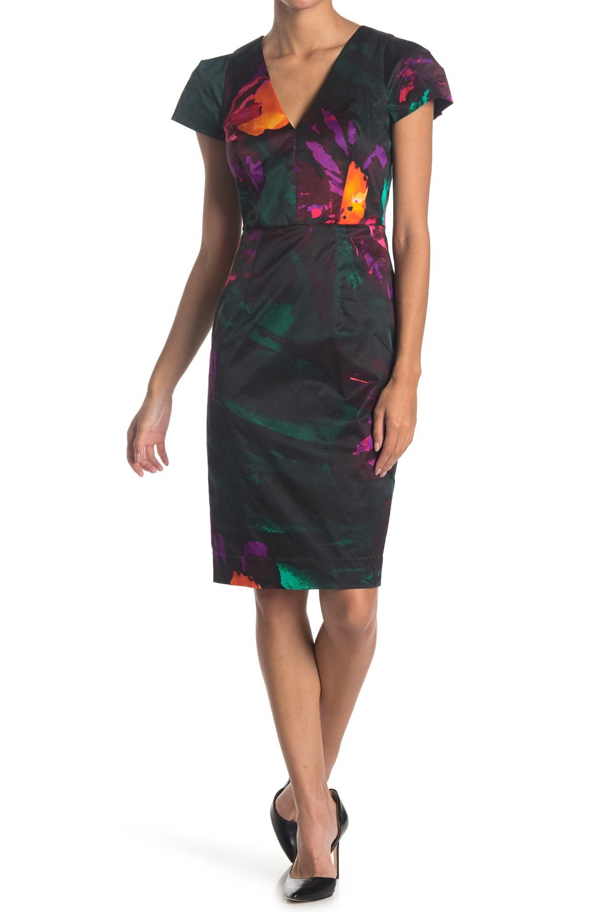 Image of MILLY Daphne Floral Print V-Neck Cap Sleeve Sheath Dress
