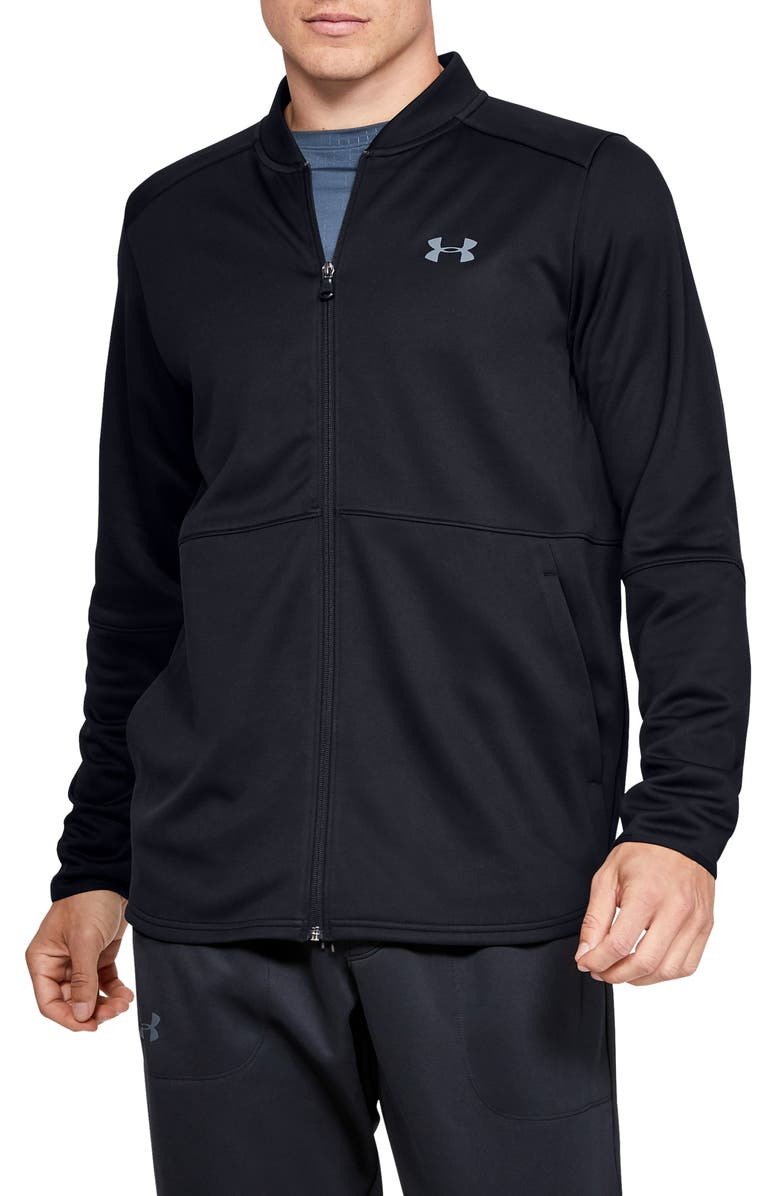 UNDER ARMOUR MK-1 Warm-Up Performance Bomber Jacket, Main, color, BLACK/ PITCH GREY