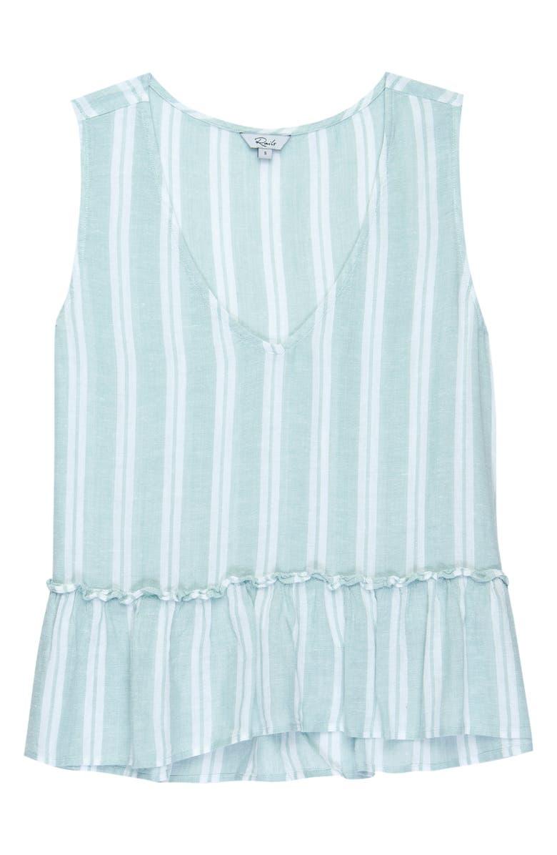 RAILS Mira Stripe Linen Blend Sleeveless Peplum Top, Main, color, JUNIPER STRIPE