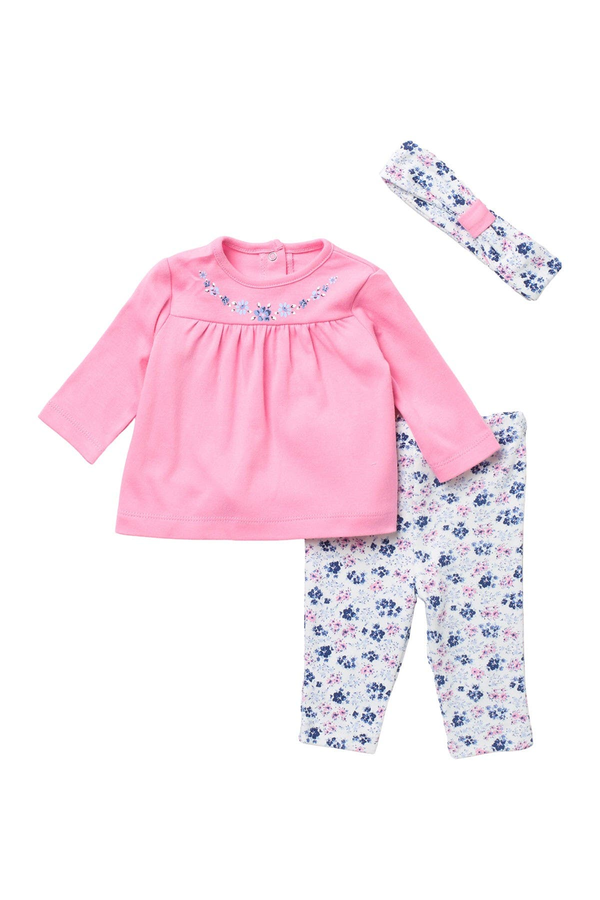 Image of Little Me Floral Cluster Headband, Tunic & Leggings Set
