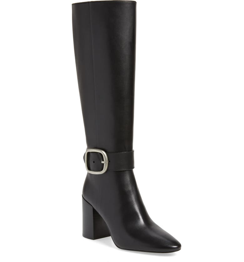 COACH Evelyn Knee High Buckle Boot, Main, color, BLACK LEATHER
