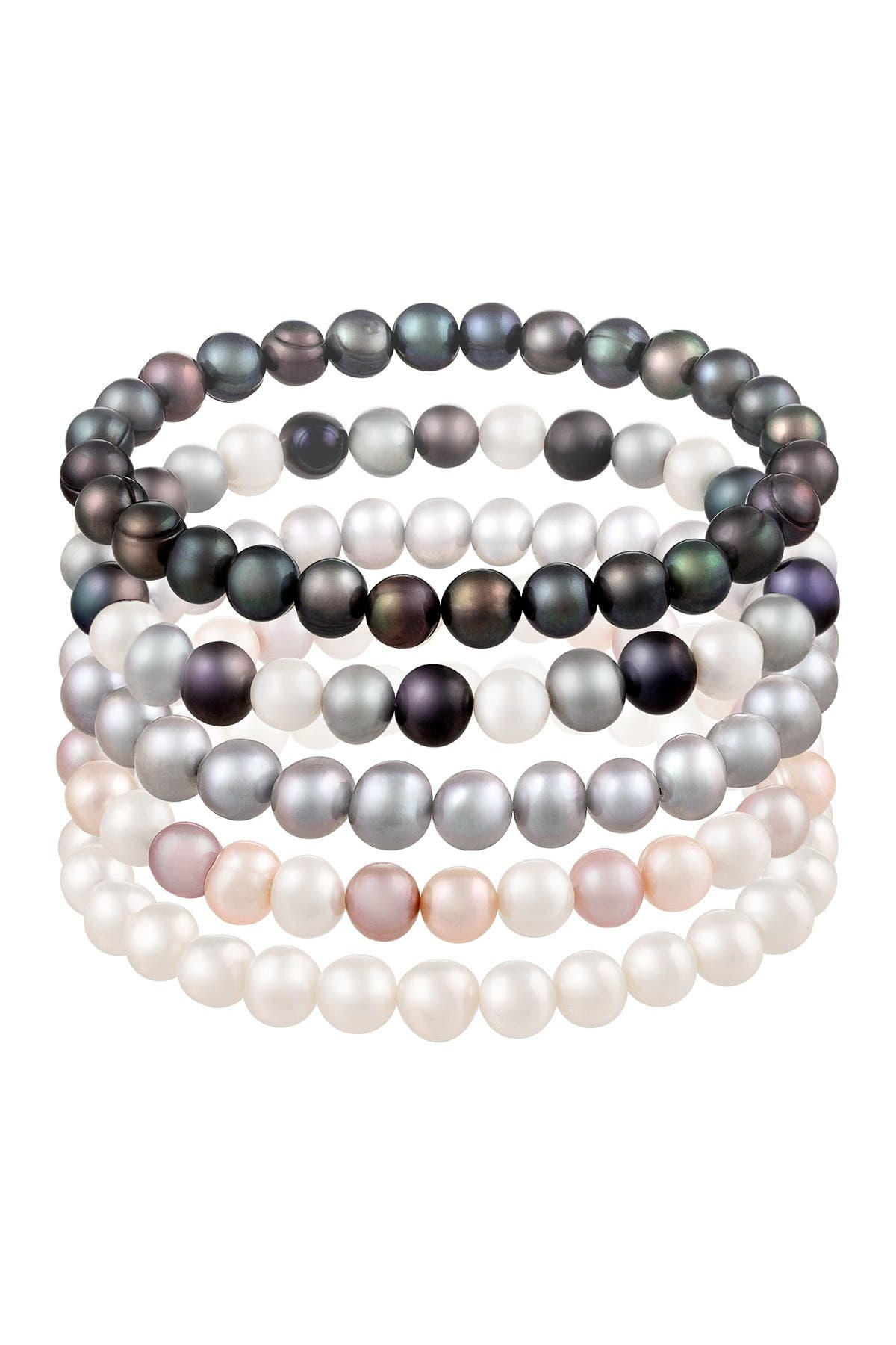 Splendid Pearls 6-7mm Multicolor Freshwater Pearl Stretch Bracelet Set at Nordstrom Rack