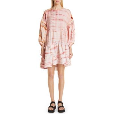 Story Mfg. Verity Tie Dye Drop Waist Dress, Red