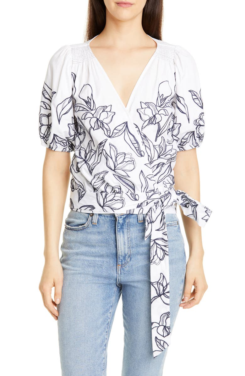 TANYA TAYLOR Leira Floral Embroidery Cotton Wrap Blouse, Main, color, PENCIL FLORAL/ WHITE