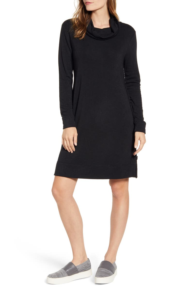 CASLON<SUP>®</SUP> Cowl Neck Side Button Long Sleeve Dress, Main, color, BLACK