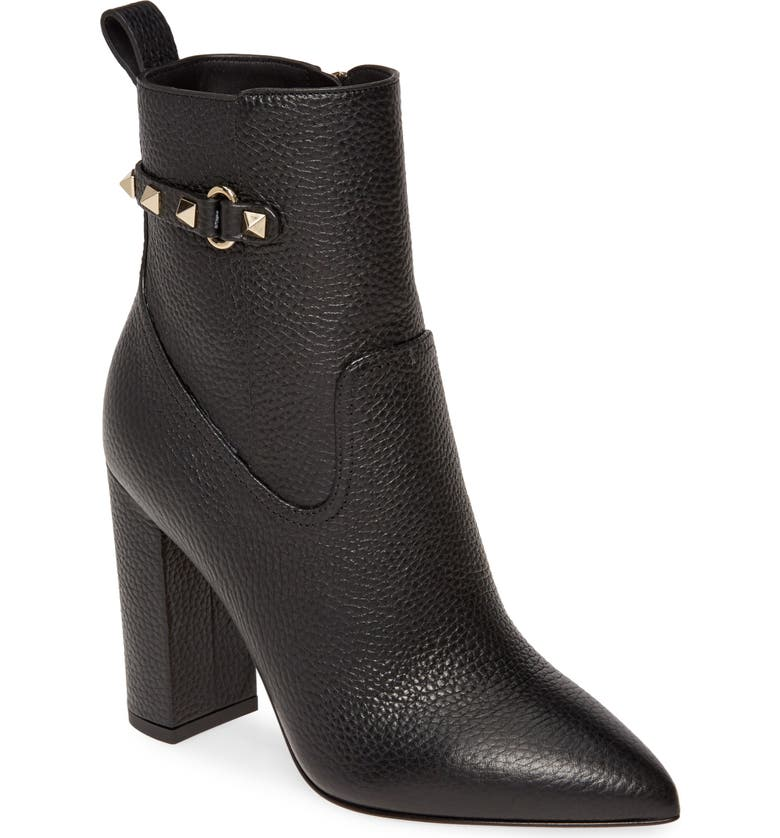 VALENTINO GARAVANI Rockstud Pointy Toe Bootie, Main, color, BLACK LEATHER