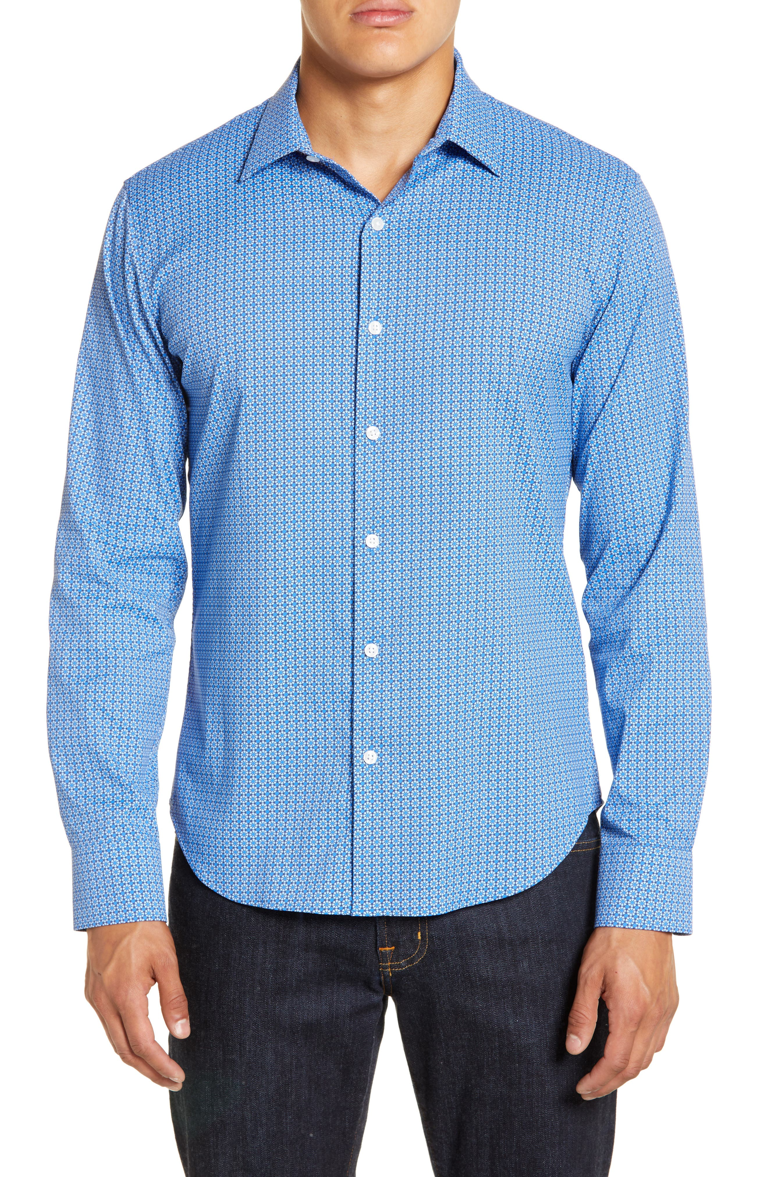 A classic design with a modern twist, this sport shirt comes in a tile-inspired pattern and is made of lightweight stretch fabric that fights sweat all day. Style Name: Bonobos Tech Slim Fit Print Button-Up Shirt. Style Number: 6058346. Available in stores.