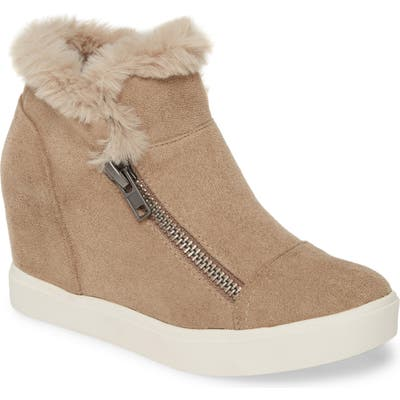 Coconuts By Matisse Later Days Faux Fur Wedge Sneaker, Grey
