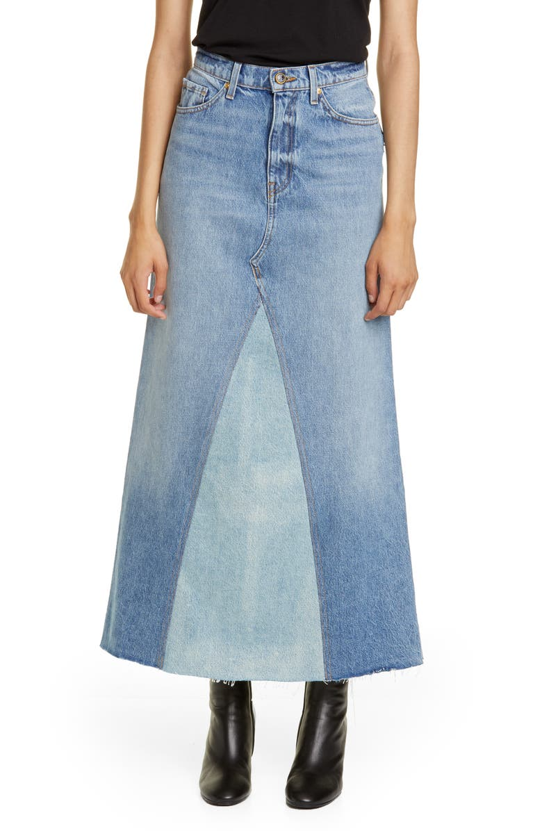 KHAITE Magdalena Reconstructed Denim Midi Skirt, Main, color, SANTA CRUZ