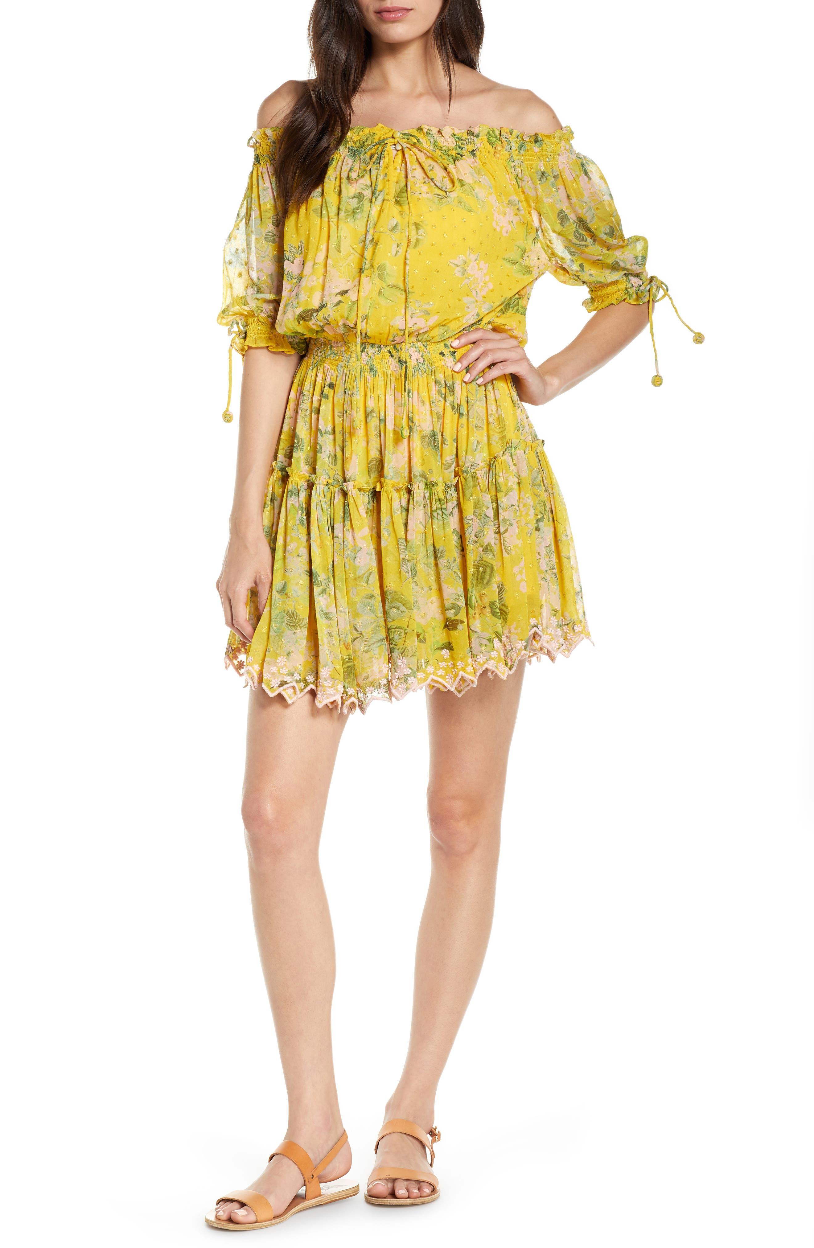 Hemant & Nandita Print Off The Shoulder Cover-Up Dress
