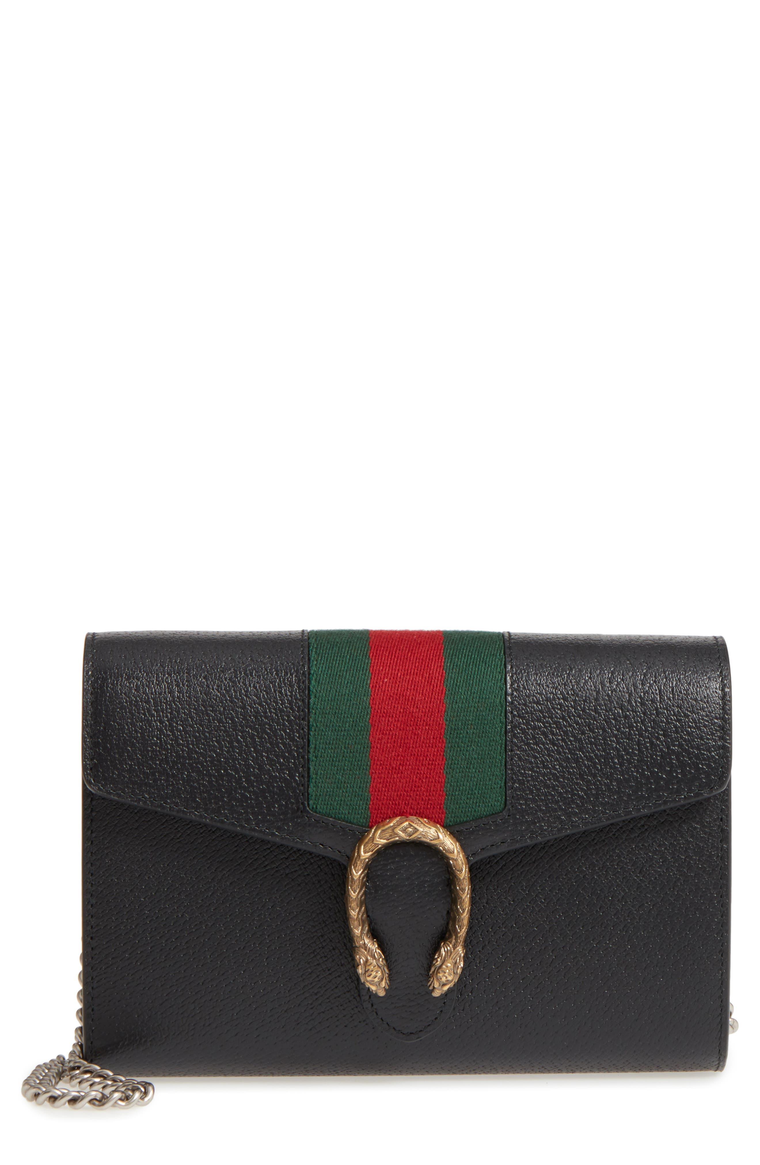 Dionysus Web Stripe Leather Wallet on a Chain, Main, color, BLACK/ VERT RED VERT
