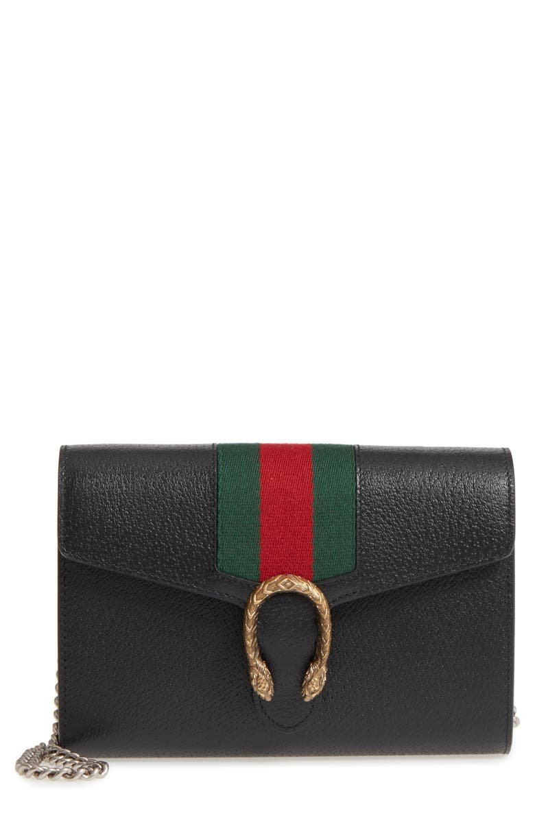 GUCCI Dionysus Web Stripe Leather Wallet on a Chain, Main, color, BLACK/ VERT RED VERT