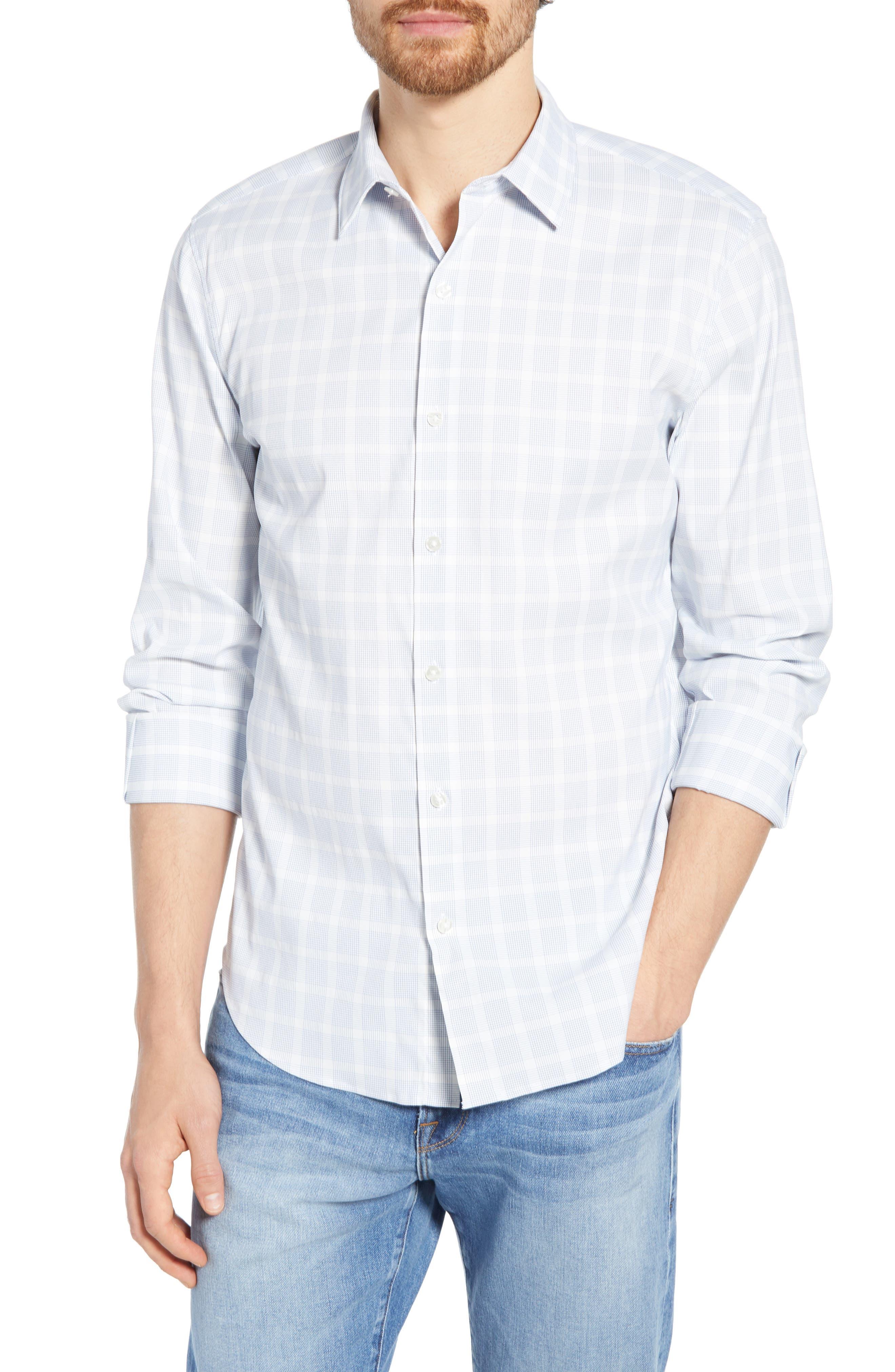 Slim Fit Check Tech Sport Shirt, Main, color, MIGUEL CHECK AZUL