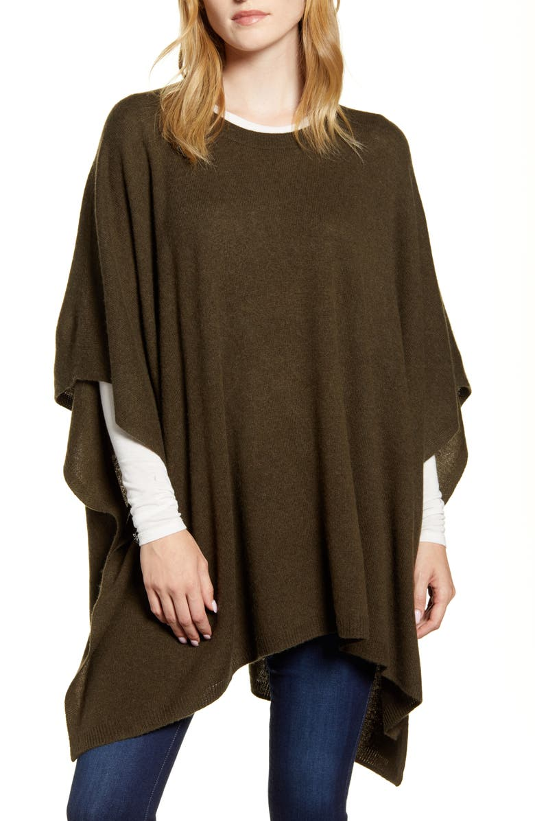 NORDSTROM Wool & Cashmere Poncho, Main, color, OLIVE DARK