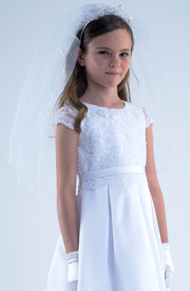 US ANGELS Tiara with Veil, Main, color, WHITE