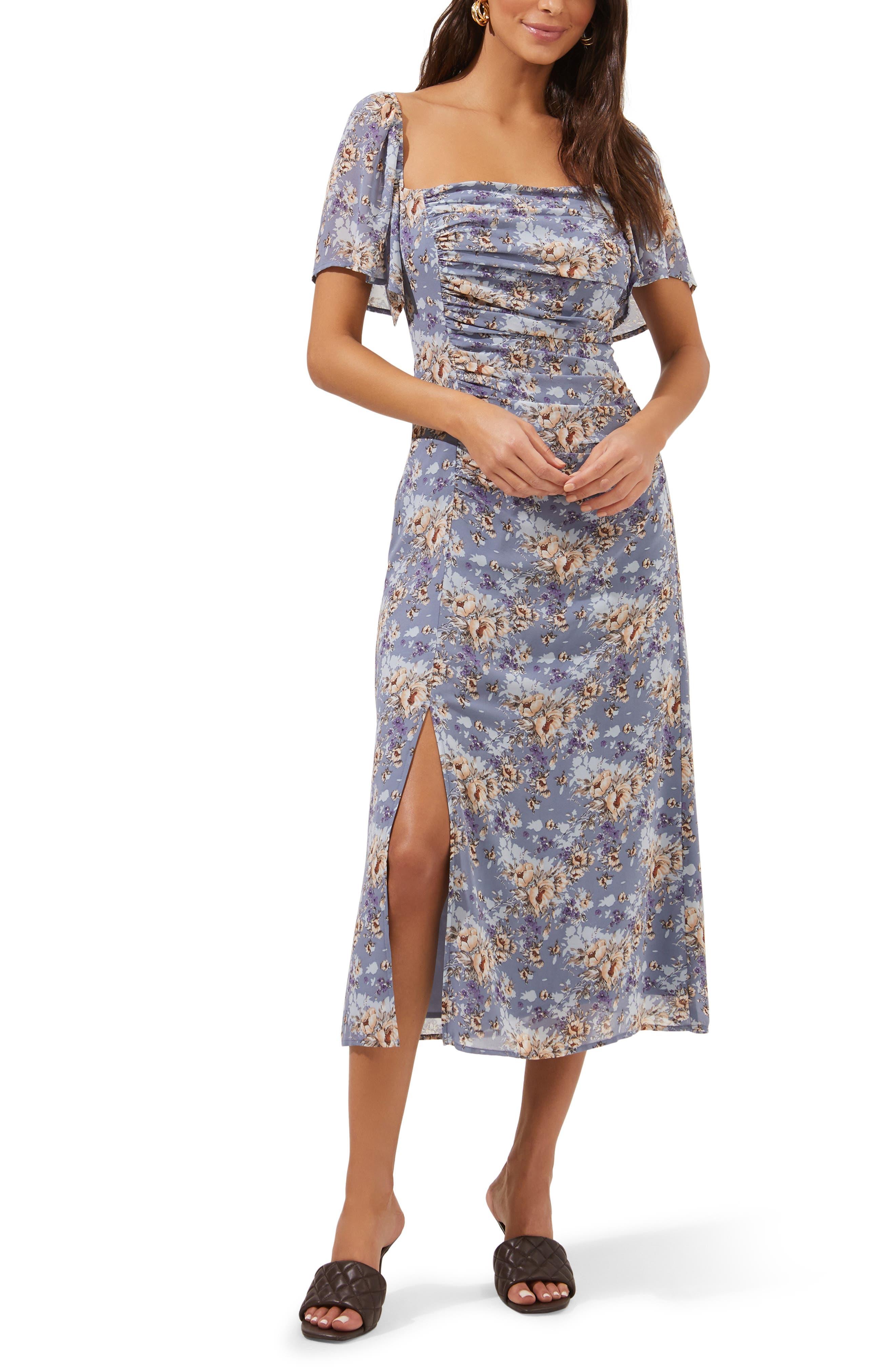Floral Ruched Flutter Sleeve Dress