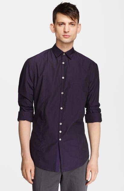 John Varvatos Slim Fit Microcheck Shirt In Purple