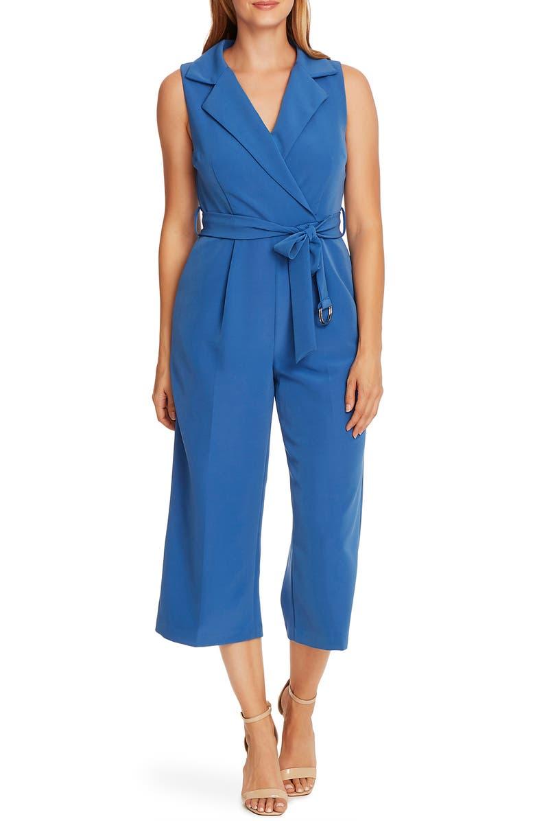 VINCE CAMUTO Notch Lapel Belted Jumpsuit, Main, color, DUSK BLUE