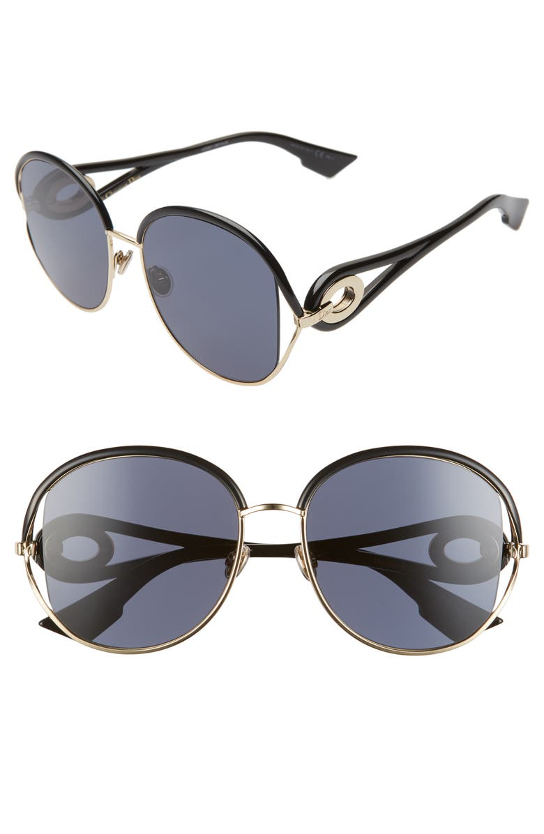 DIOR Newvolutes 57mm Round Sunglasses, Main, color, BLACK/ GOLD