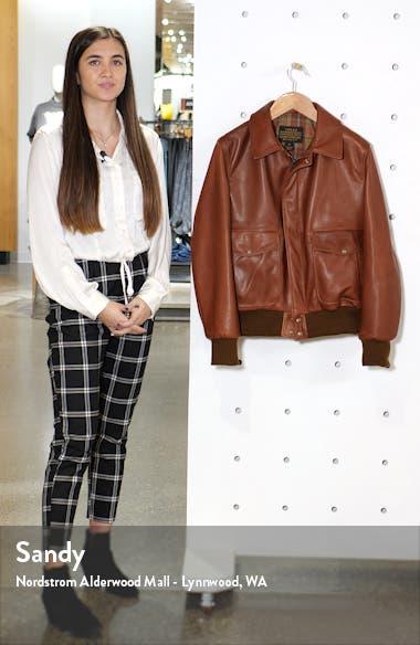 Pebble Texture Leather Bomber Jacket, sales video thumbnail