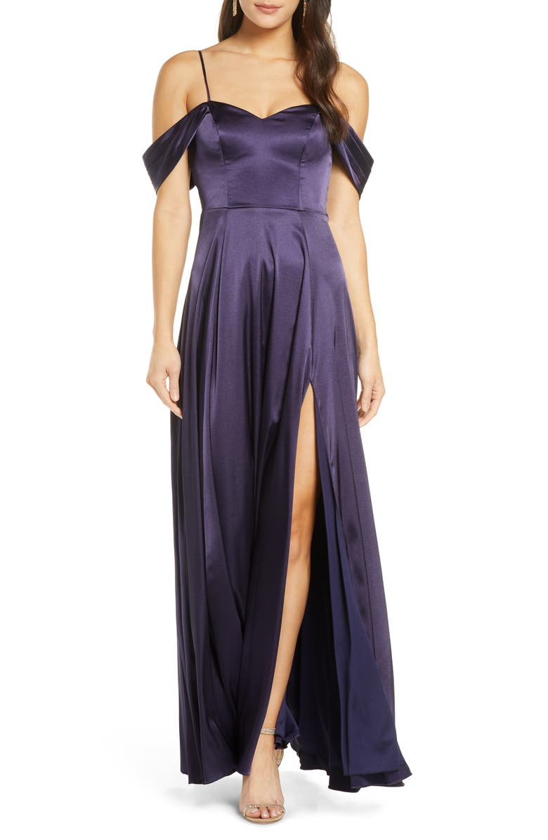 SEQUIN HEARTS Cold Shoulder Satin Evening Gown, Main, color, 400
