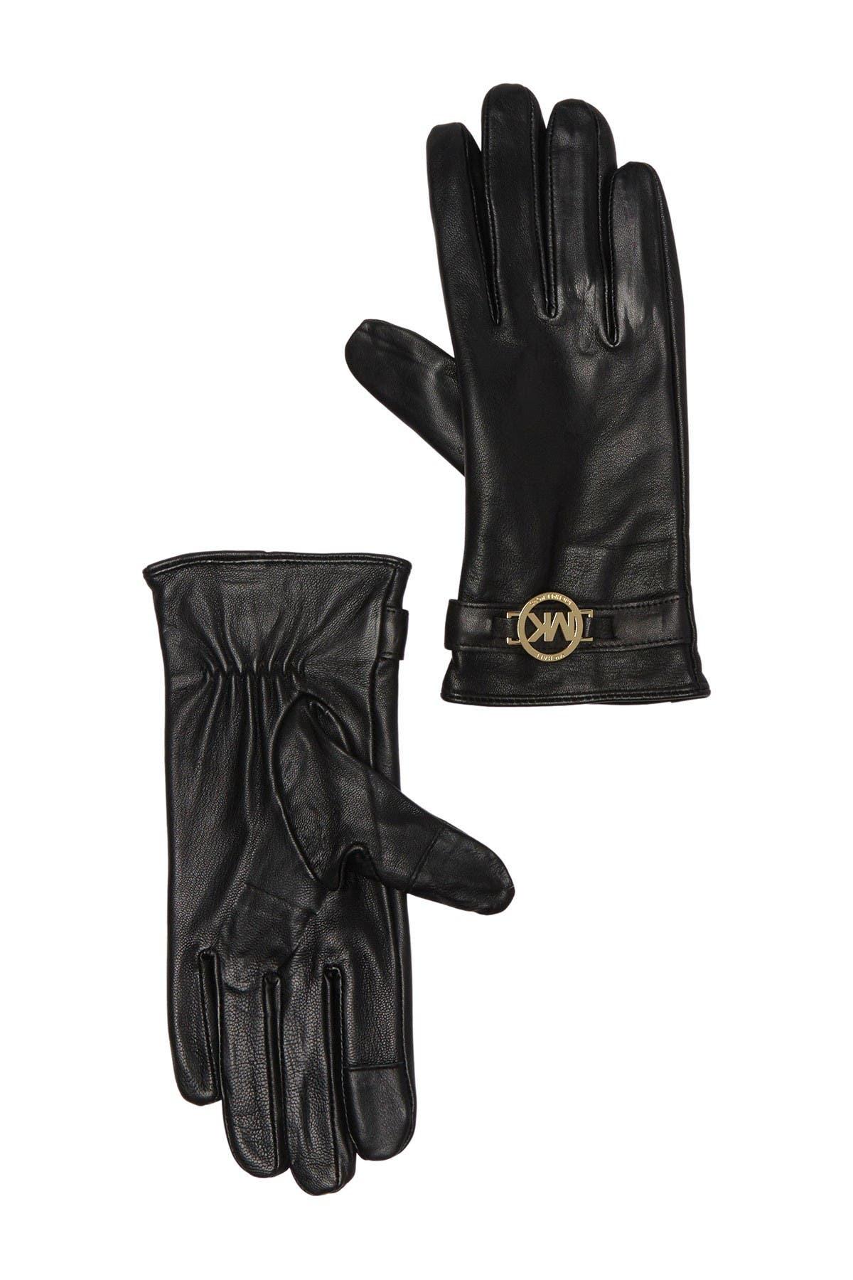 Image of Michael Kors Logo Charm Leather Gloves