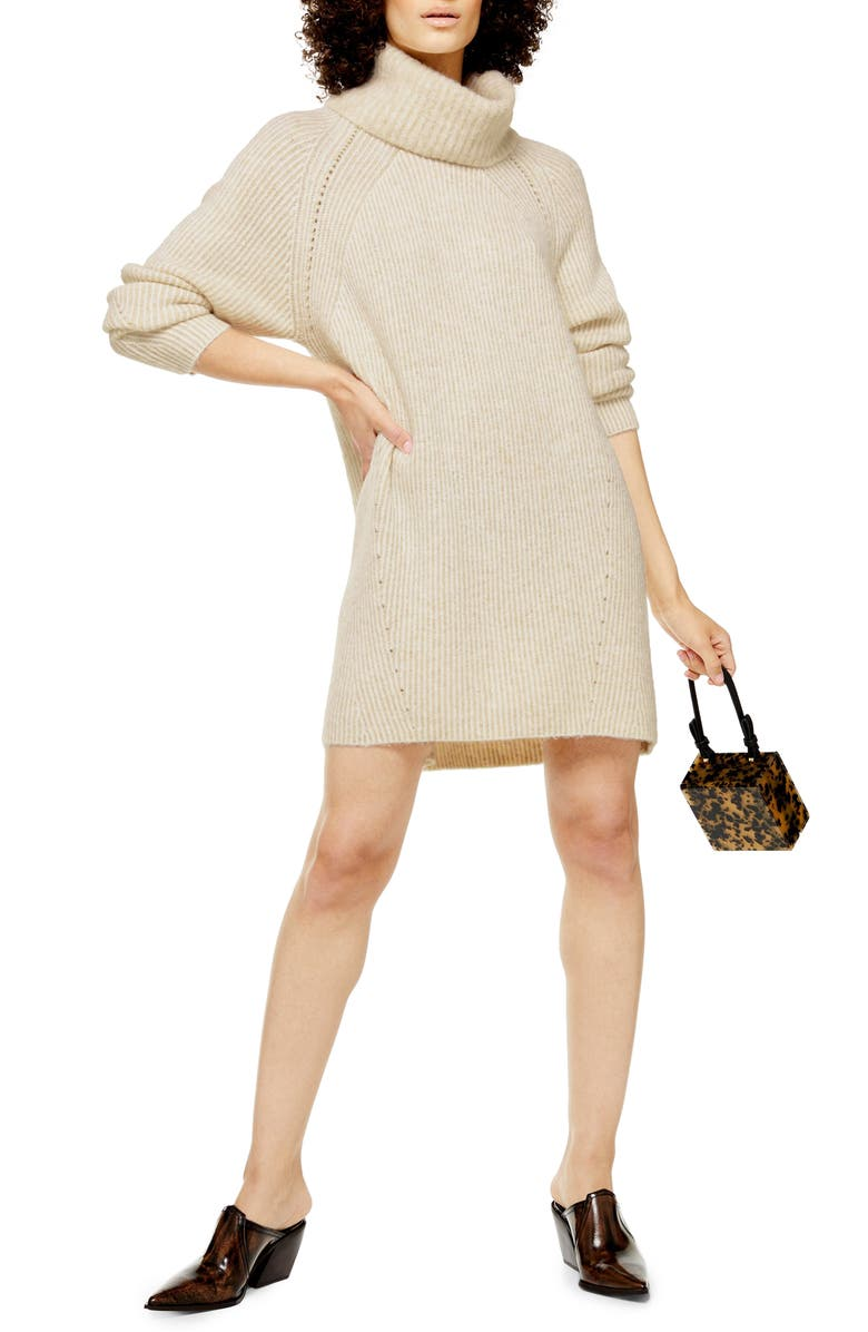 TOPSHOP Turtleneck Sweater Dress, Main, color, OAT