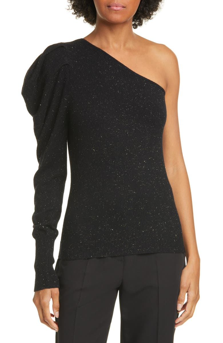 AUTUMN CASHMERE Draped One-Sleeve Cashmere Blend Sweater, Main, color, ONYX ONYX