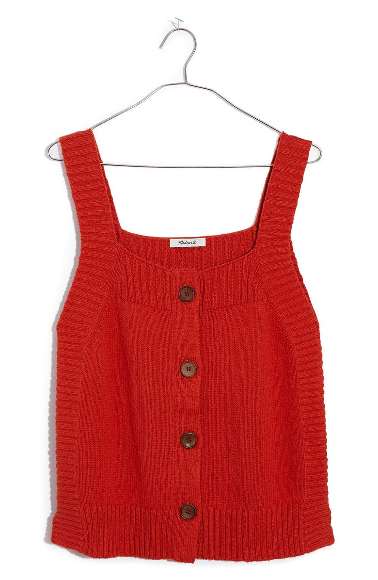 MADEWELL Rowe Button Front Sweater Tank, Main, color, THAI CHILI