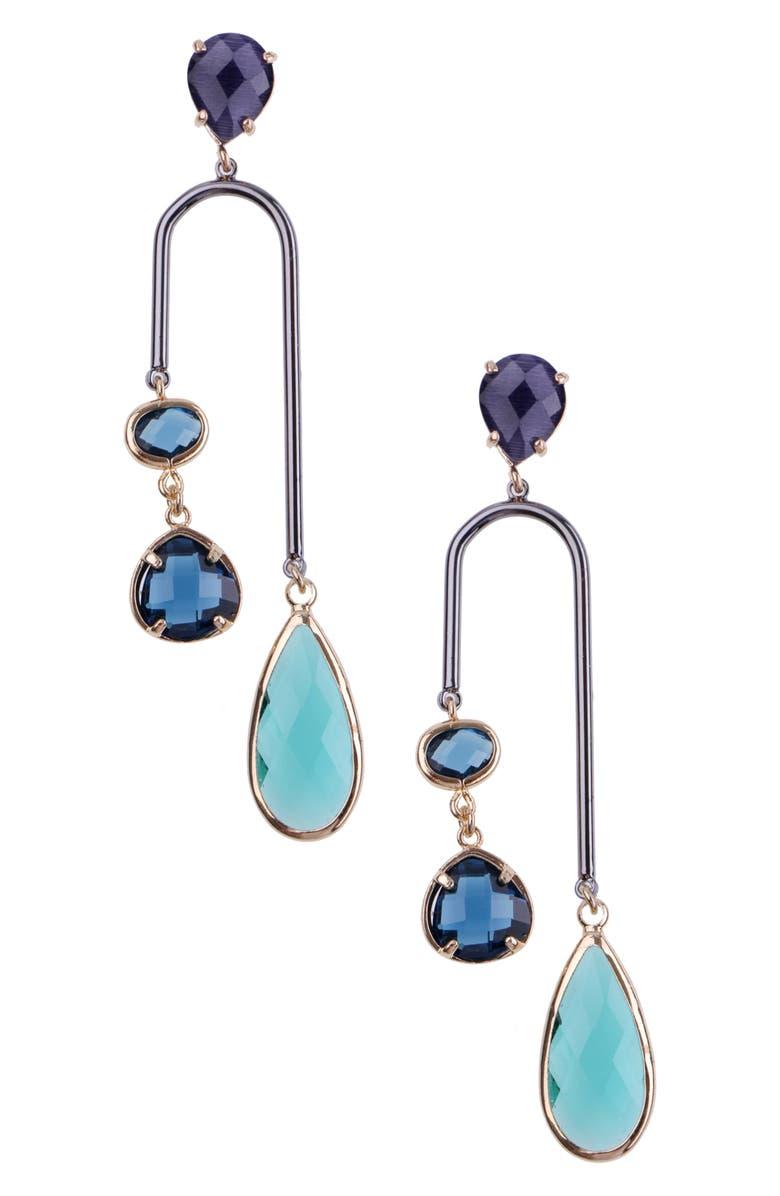 NAKAMOL CHICAGO Elongated Horseshoe Earrings, Main, color, BLUE