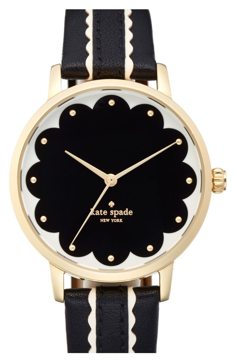 KATE SPADE NEW YORK 'metro' leather strap watch, 34mm, Main, color, 001