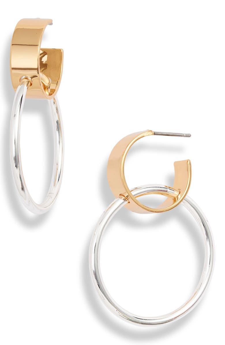 JENNY BIRD Imogen Double Hoop Earrings, Main, color, GOLD/ SILVER