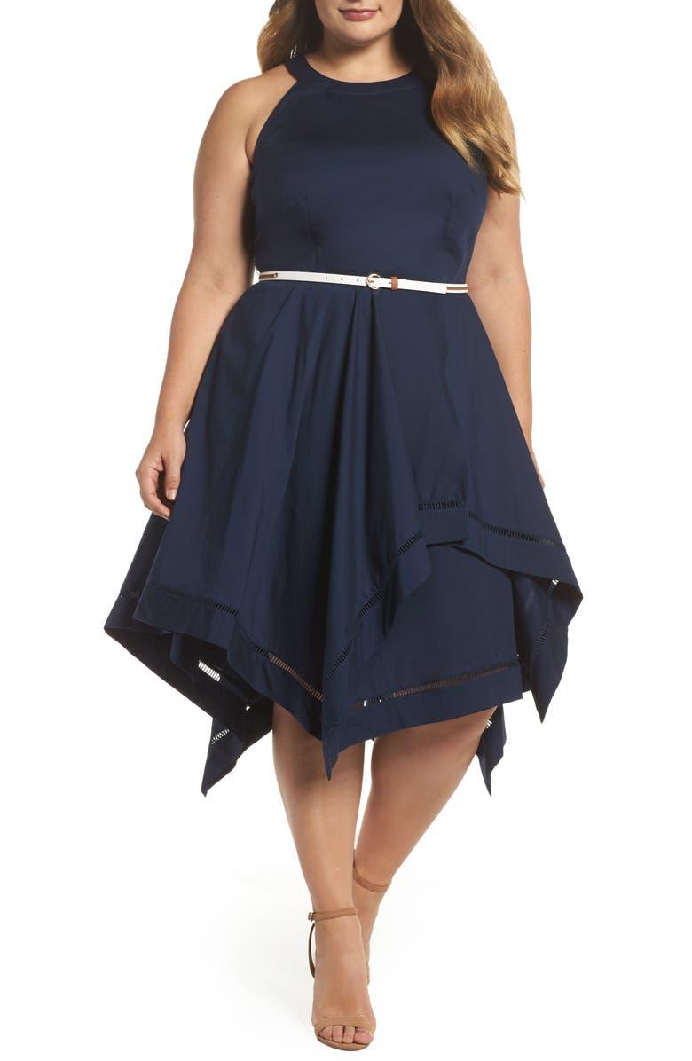 ELIZA J Handkerchief Hem Fit & Flare Dress, Main, color, 410