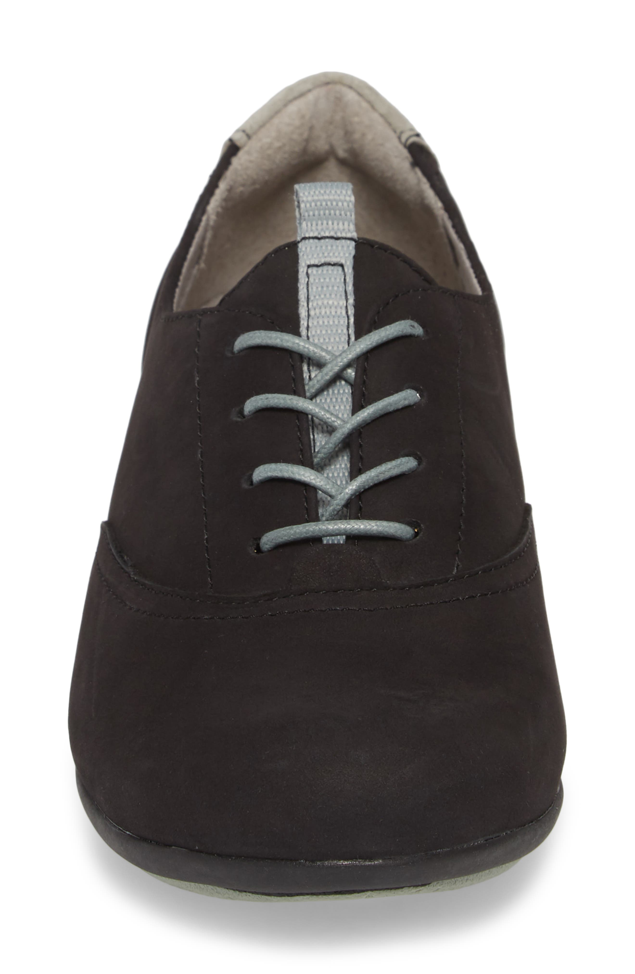 ,                             Kimi Wedge Sneaker,                             Alternate thumbnail 4, color,                             BLACK MILLED NUBUCK LEATHER
