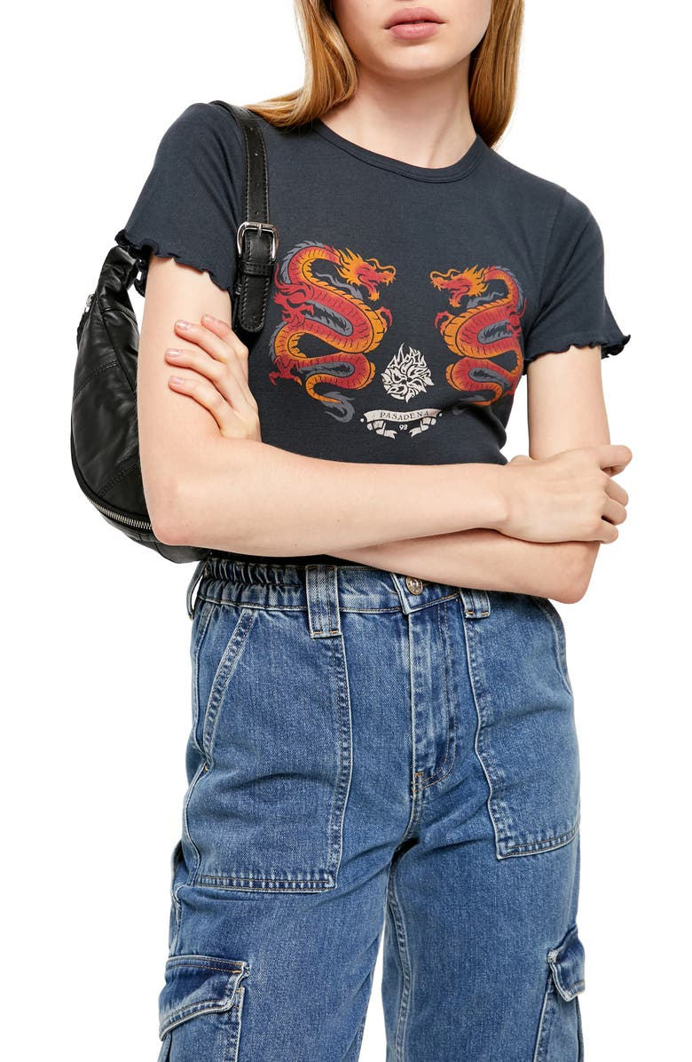BDG URBAN OUTFITTERS Dragon Graphic Tee, Main, color, 001