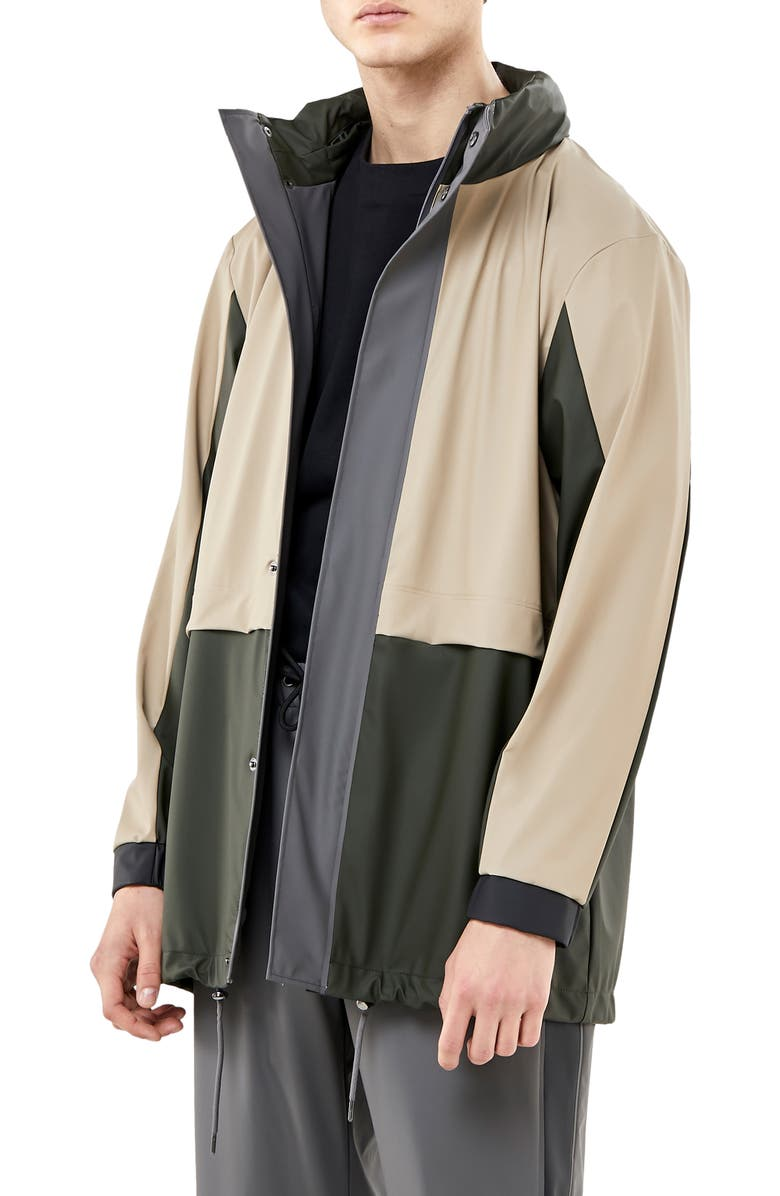 RAINS Waterproof Colorblock Tracksuit Jacket with Zip Out Hood, Main, color, GREEN/ BEIGE