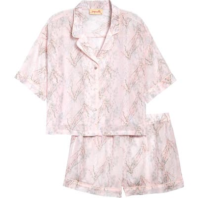 Papinelle Falling Blossom Short Pajamas, Pink