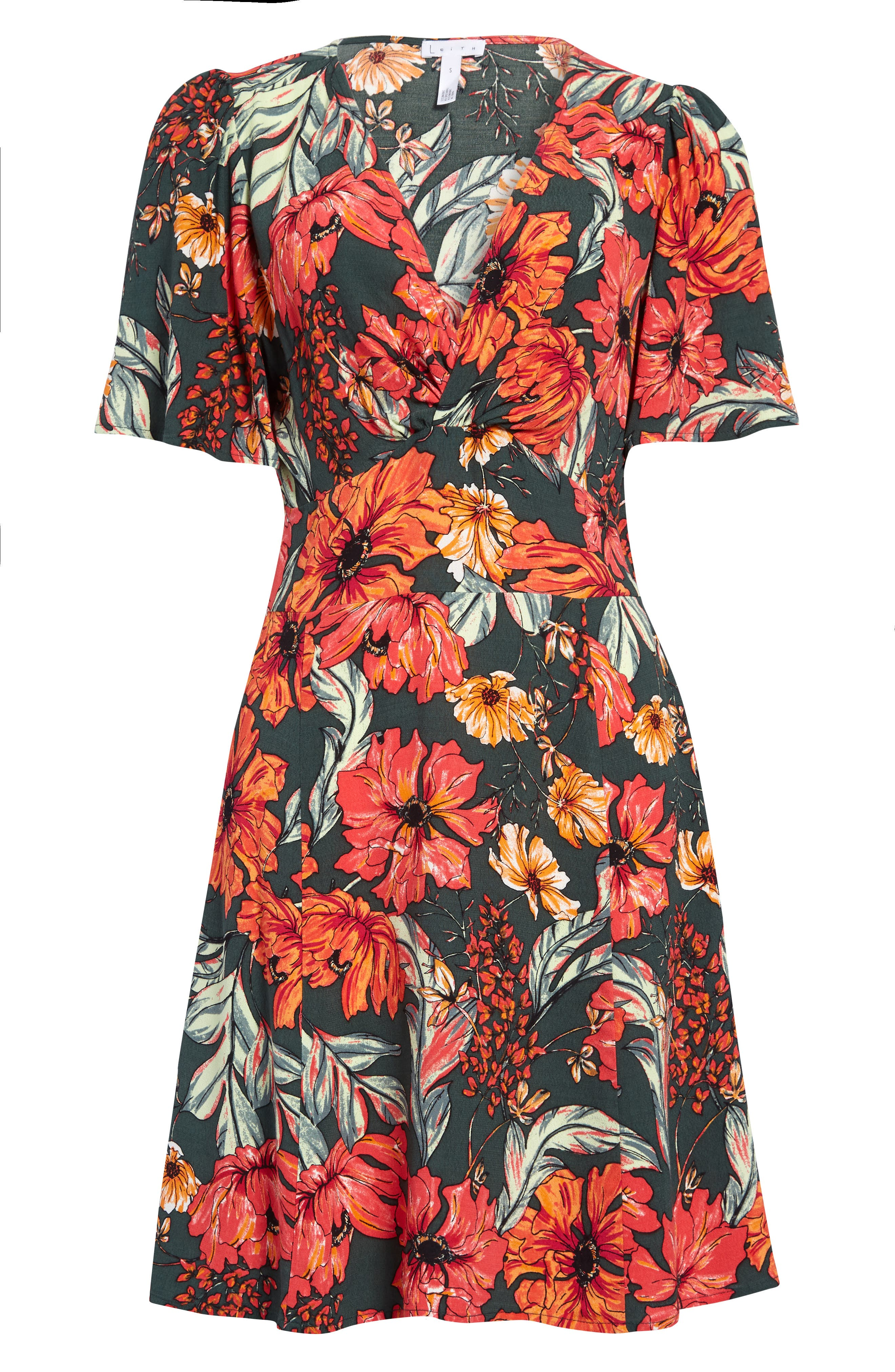 A little twist at the bust enhances the waist-defining silhouette of this pretty printed A-line dress. Style Name: Leith Twist Front A-Line Minidress. Style Number: 6014690. Available in stores.