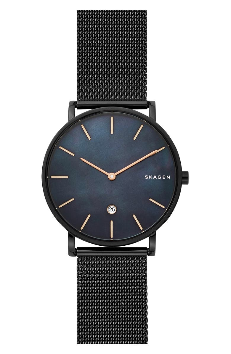 SKAGEN Hagen Slim Mesh Strap Watch, 40mm, Main, color, BLACK/ MOP/ BLACK