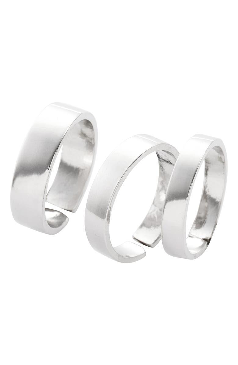 LISA FREEDE Set of 3 Adjustable Band Rings, Main, color, RHODIUM